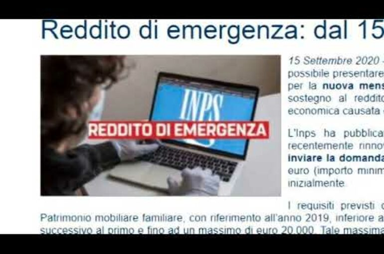 Reddito di emergenza, le nuove scadenze